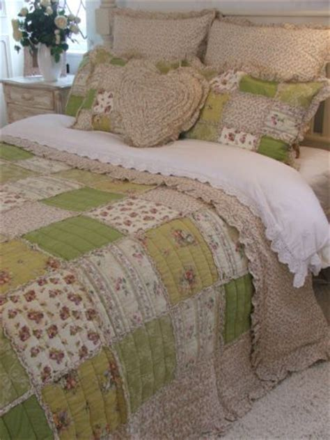 shabby chic green floral ruffle king size patchwork quilt