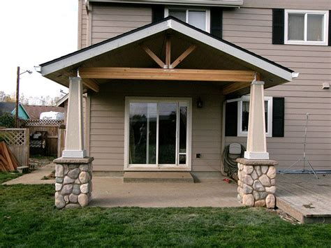 open gable patio cover  stone post bases tangent