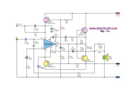 2n3055 transistor lifier circuit diagram power lifier ocl 80w hi fi by ic tda2020 electronic projects circuits