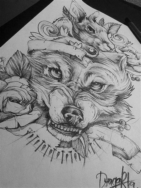sick wolf tattoo sick wolf drawing with some roses around tattoos