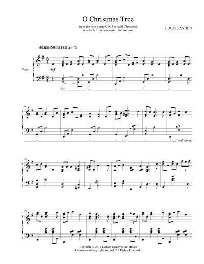 fre pdf piano solo o christmas tree o tree peaceful piano