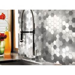 Decorative Tile Strips Self Adhesive Metal Mosaic 10 Pcs Hexagon Peel N Stick