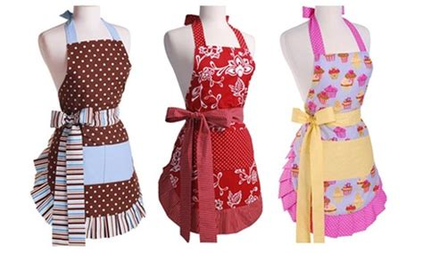 apron designs and kitchen apron styles retro apron in choice of designs groupon goods