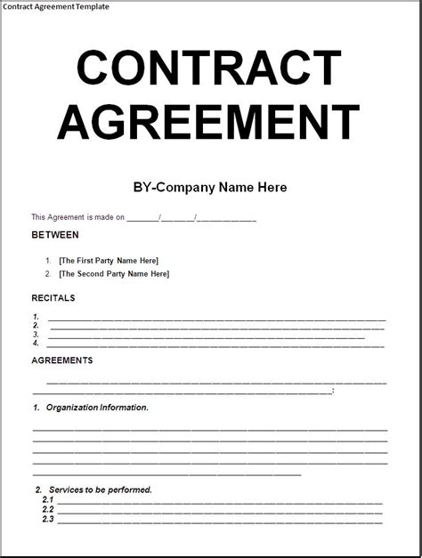 Simple Template Exle Of Contract Agreement Between Two Parties With Huge Title And Blank Contract Template