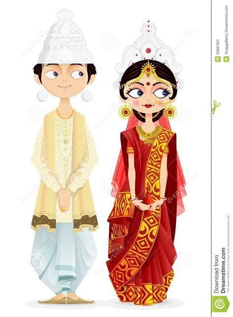 Bengali Wedding Couple Cartoon Vector   CartoonDealer.com