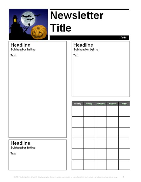 October Newsletter Template october parent newsletter template education world