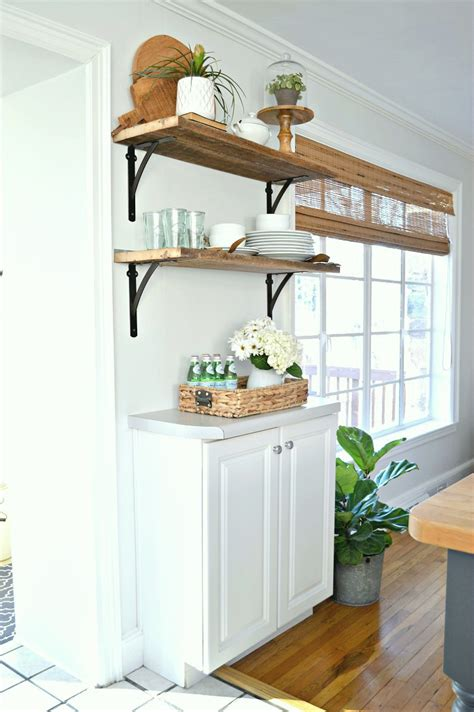 diy barn wood shelves in the kitchen for under 50