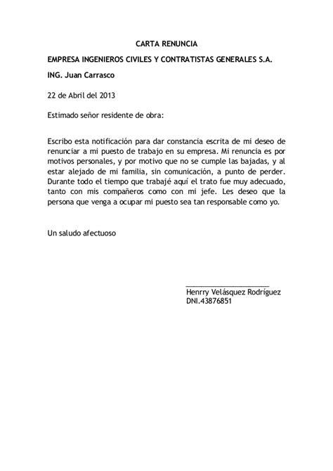 ejemplo de carta de renuncia breve ejemplos de carta carta de renuncia 1