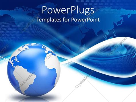 Powerpoint Template Earth Globe With Blue World Map Background And White Waves 31788 Globe Powerpoint Template