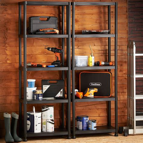 garage wall shelving vonhaus 5 tier garage shelving unit with wall brackets pack of 2 heavy duty ebay
