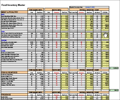 restaurant costing template recipe costing inventory menu profitability workbook