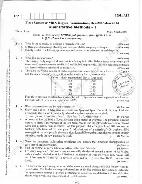 Mba Statistics Question Paper With Answers by 1st Semester Mba Dec 2013 Question Papers