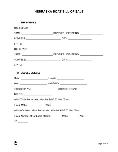 boat bill of sale without notary free nebraska boat bill of sale form pdf word eforms