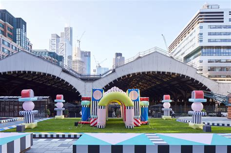 designboom london camille walala inflates bouncy pink and patterned villa