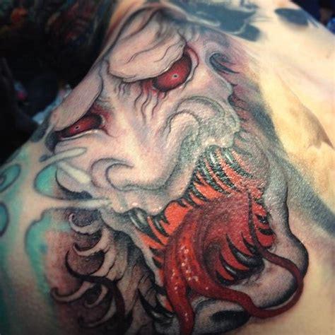 japanese tattoo artist youtube evil hanya mask tattoos