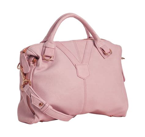 nasvik light pink leather phoebe medium bag in pink