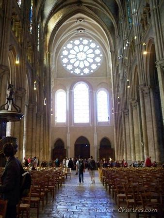 Interior Pillars inside chartres cathedral nave central and the aisles