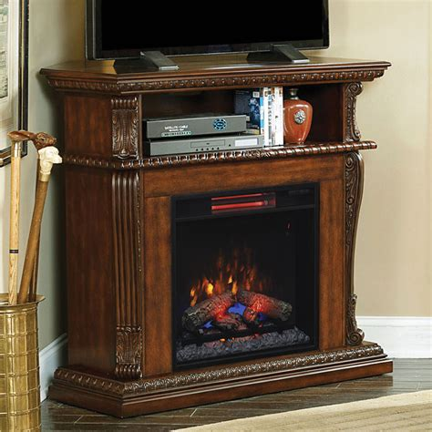 corinth walnut infrared electric fireplace and mantel