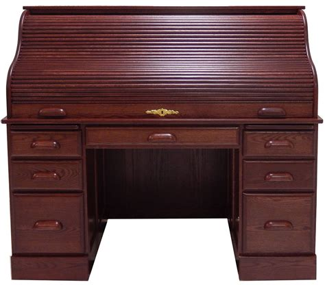 wooden roll top desk 54 quot w deluxe solid oak roll top desk