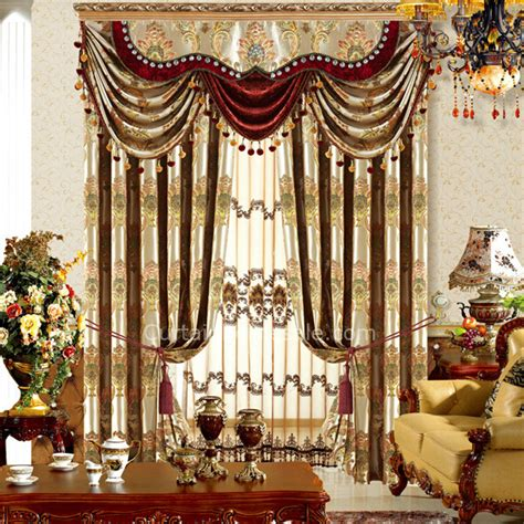 Silk Valances Window Treatments Magnificence Damask Floral Living Room Curtain In Gold
