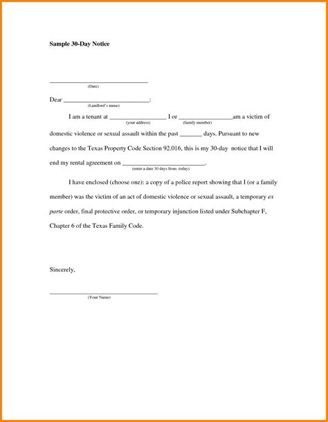30 day notice to landlord letter template landlord to tenant 30 day notice vacate letter sle