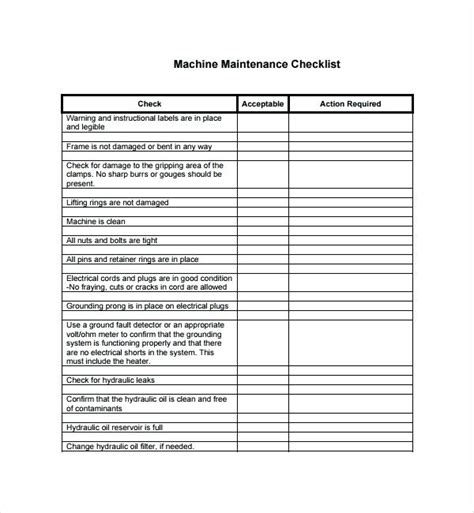 Preventive Maintenance Checklists Preventive Maintenance Checklist For Fire Pumps Salmaun Me Electrical Maintenance Checklist Template