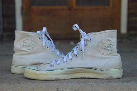 vintage archdale white canvas basketball sneaker shoes
