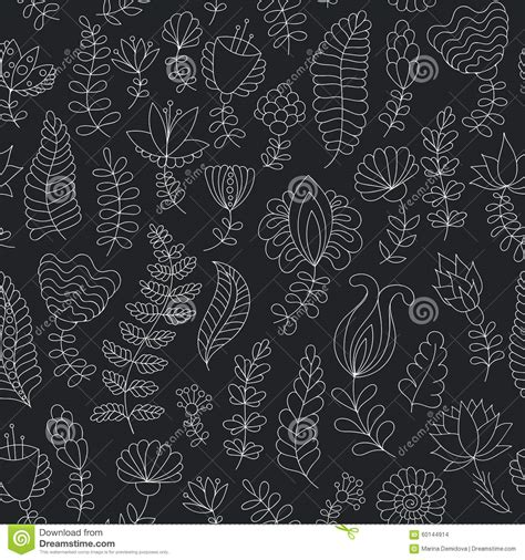 black and white doodle wallpaper seamless black and white doodle flowers pattern stock