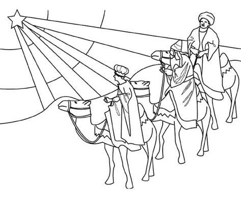 coloring page star of bethlehem three kings following star of bethlehem coloring pages