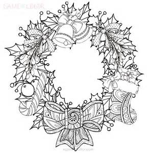 Xmas Wreath Coloring Kids Wreaths Coloring Pages