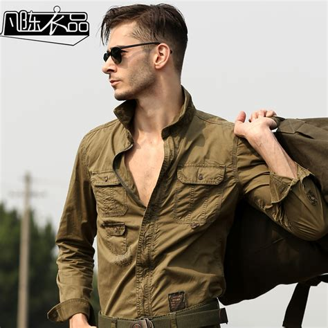 20015 White Navy Style high quality s casual sleeved cargo shirt plus size shirt mens