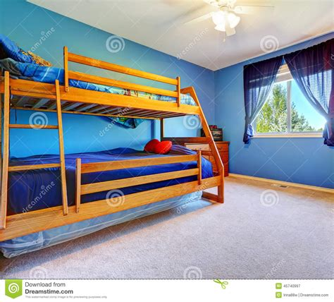 bulk bed bright blue bedroom with bulk bed stock photo image