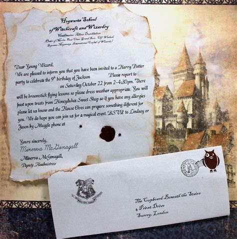 Invitation Letter Harry Potter Platform 9 3 4 Aka A Harry Potter