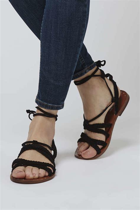 topshop gladiator sandals topshop farewell gladiator sandals in black lyst