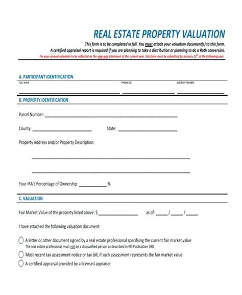 Net Property Valuation Report Format Azserver Info Property Valuation Form Template
