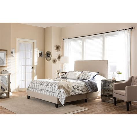 wisconsin bedding ramon upholstered queen bed nailheads beige dcg stores