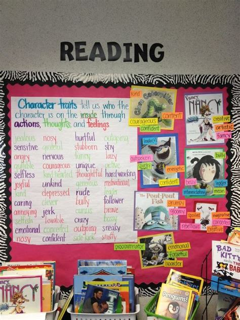 using picture books to teach character traits character trait anchor charts and book covers on