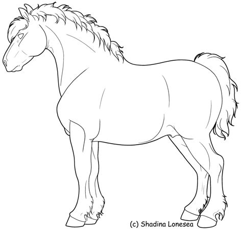 Draft Horse Lineart By Shadinalonesea On Deviantart Draft Coloring Pages