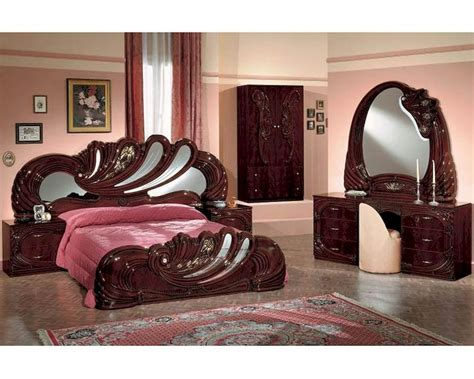 classic bedroom set mahogany finish made in italy 44b8411m