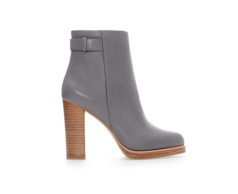 zara leather ankle boot with in gray grey lyst