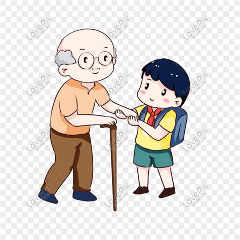 gambar anak membantu  tua guru galeri