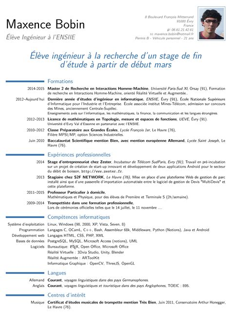 Curriculum Vitae Definition Fr Cv Fran 231 Ais Maxence Bobin