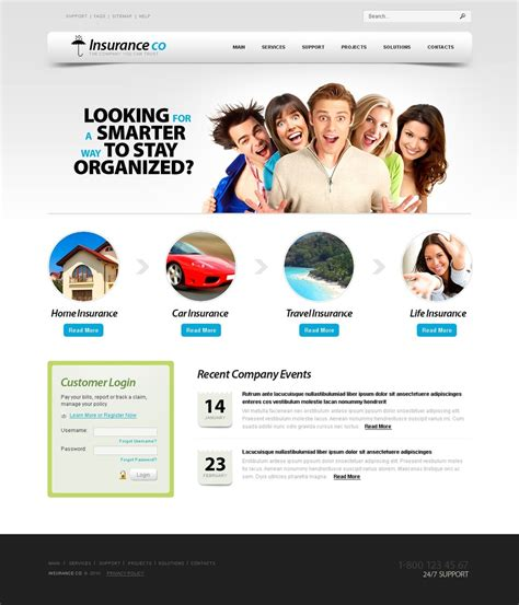 templates for insurance website insurance website template 28953