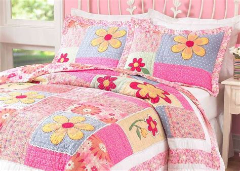 Set Pink Flowery pink flower quilt set cool