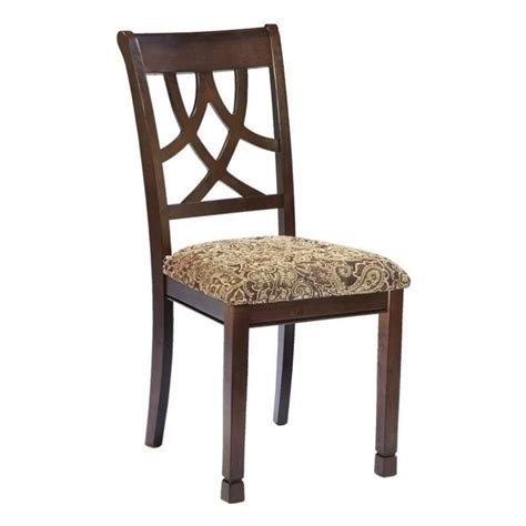 Brown Upholstered Dining Chairs Leahlyn Upholstered Dining Chair In Medium Brown D436 01