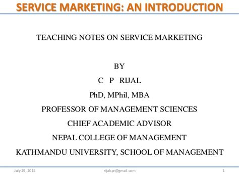 Mba Services Marketing Notes by Introduction To Service Marketing