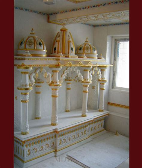 Puja Room Designs white marble temple