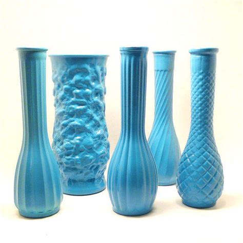 Turquoise Vases For Wedding by Vintage Milk Glass Vases Turquoise From Nashpop On Etsy