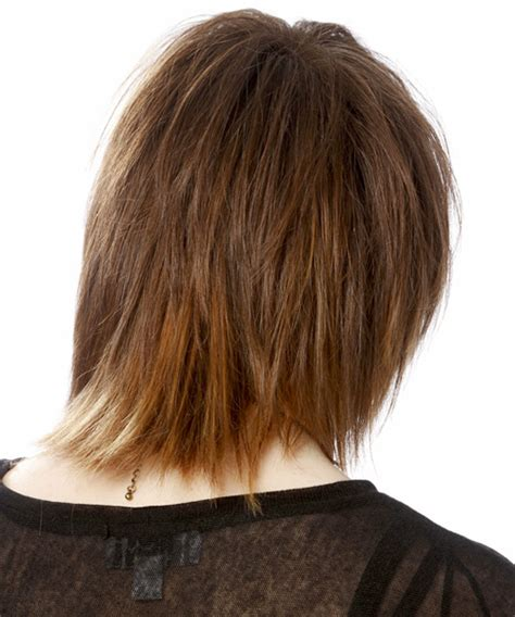 Medium Straight Casual Emo Hairstyle with Side Swept Bangs   Light Brunette (Auburn)