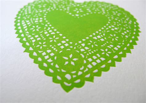 key lime green lace heart letterpress print key lime green heartfish press